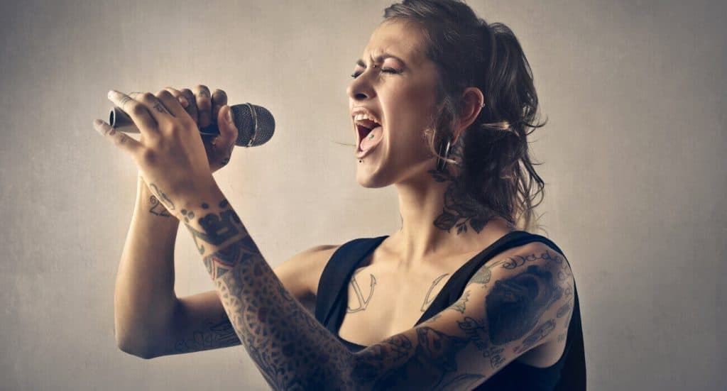 Singer try to sing differently on her song performance.