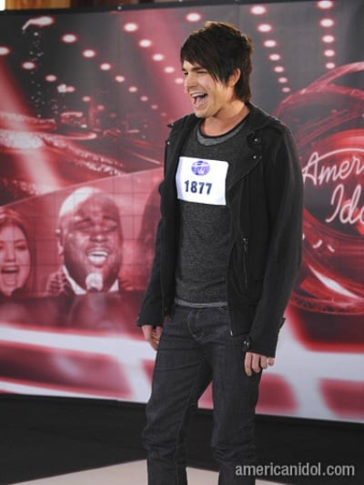 Adam performing ' Rock with You ' during the American Idol Audition.