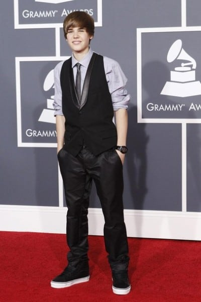 Justin attends the 52nd Annual Grammy Awards in year 2010.