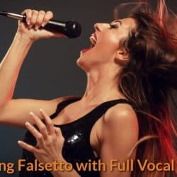 Female singer is hitting the high note with falsetto voice.