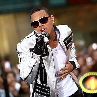 The American recording artist Chris Brown performs on the stage.