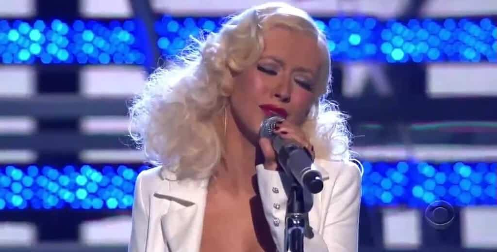 Christina Aguilera singing sad song.