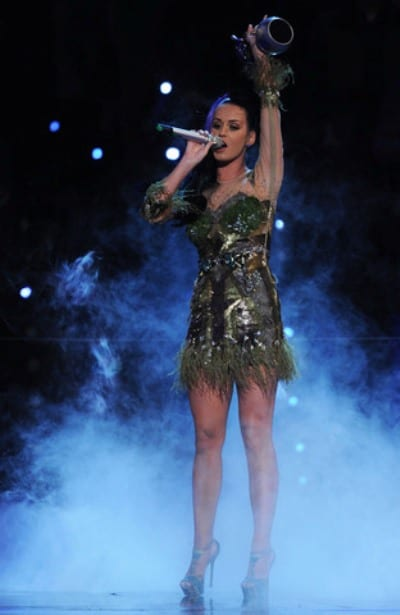 Katy Perry performs on stage with her award during the 2010 MTV EMAS in Madrid.