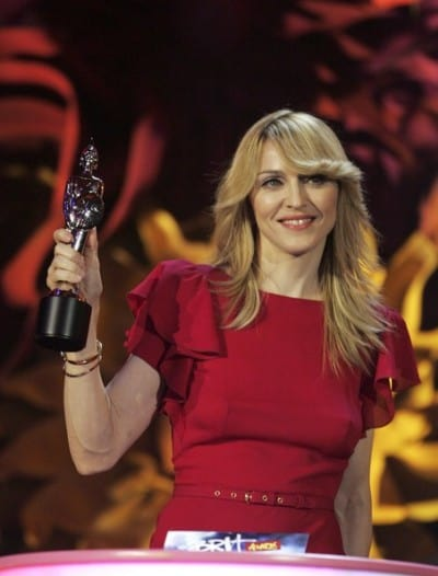 Singer Madonna accepts the award for Best International Female Solo Artist on the 2006 Brit Awards's stage.