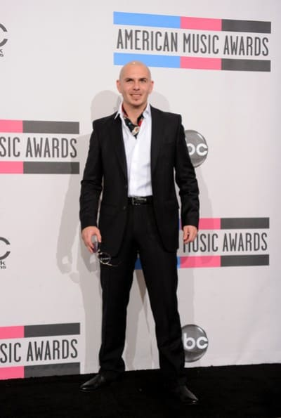 Pitbull poses in the press room during the 2010 American Music Awards.