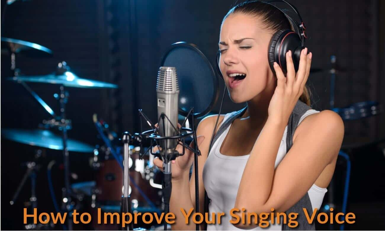 Singer is practising and listening to her own singing voice.