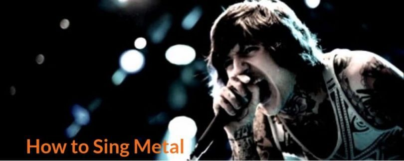 Young singer is singing metal song.