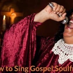 Gospel singer is singing in a very emotional state.