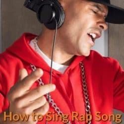 Rapper is recording song in studio.