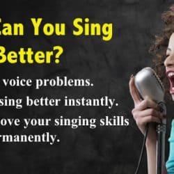 Singer singing out her best.