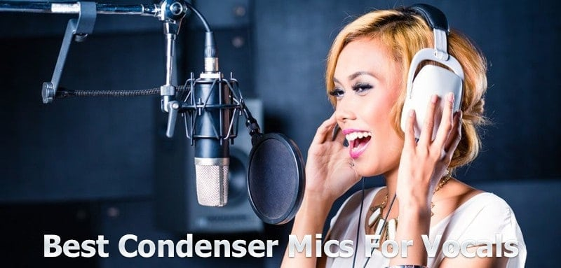 Singer singing on the condenser mic.