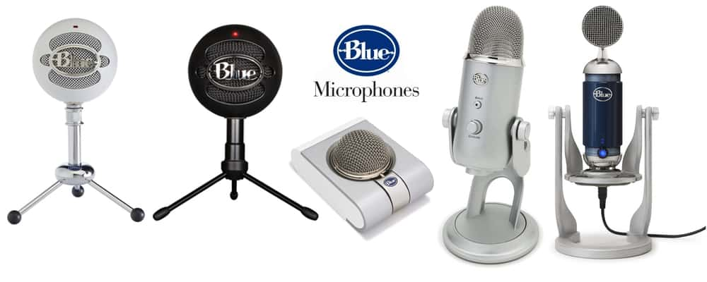 All types and models of Blue microphones.