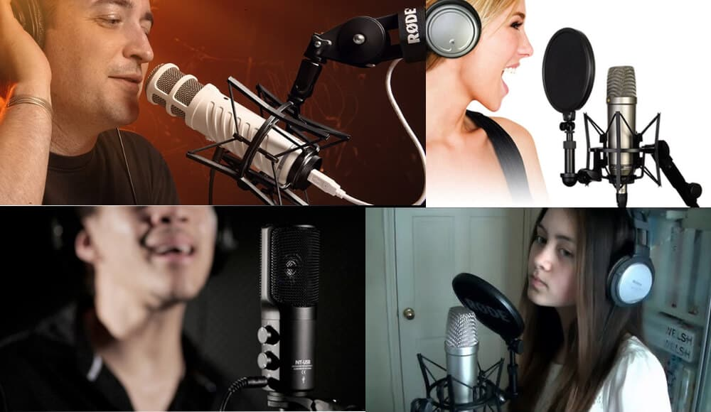 Singers use Rode microphones to sing and doing podcast.