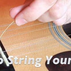 Replacing guitar string.