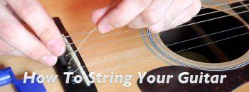 Replacing guitar string.