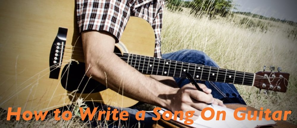 Singer learn how to write song while playing musical melody on guitar.