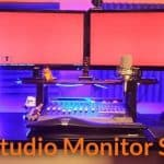 Example of the proper placements of studio monitor stands.