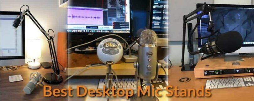 Tabletop mic stand setup ideas.