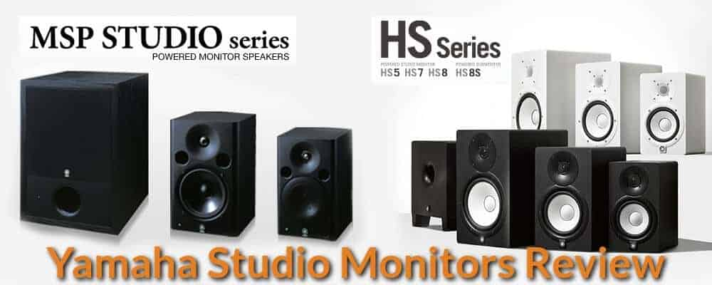 Different sizes and models of yamaha studio monitor speakers.