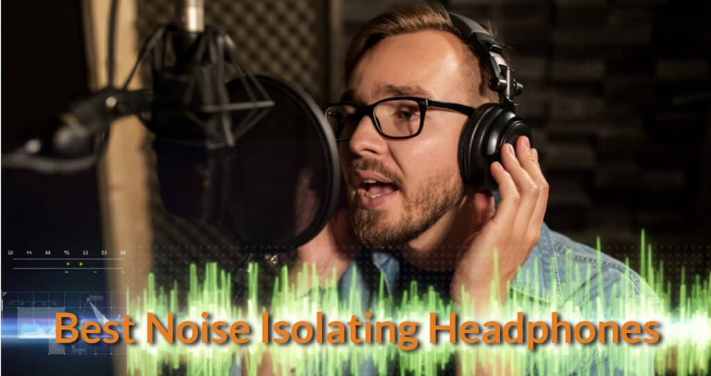 Singer wearing the noise isolating headphones while singing in the recording studio.