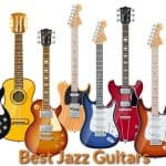 Different designs of jazz guitars.