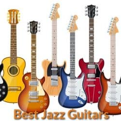 Different designs of jazz guitars.