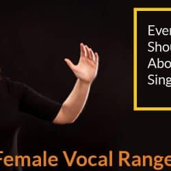 Woman vocalize her singing voice.