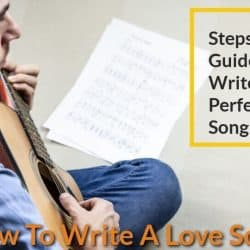 Singer is write a love song while playing guitar.