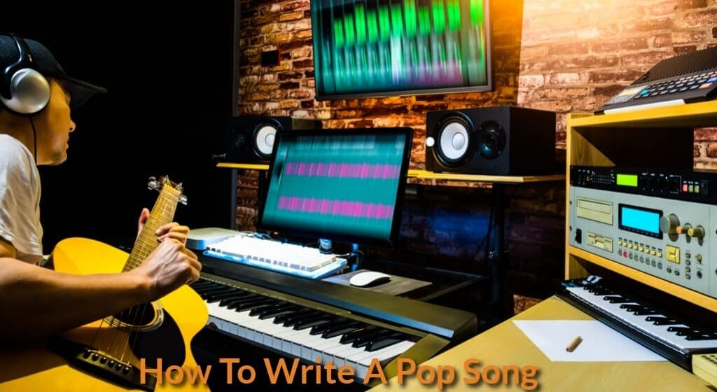 song writer is writing & composing pop song in the studio.