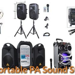 Different sizes of portable PA systems.