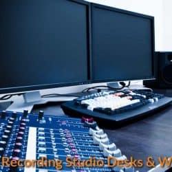 Desk with music studio equipment.