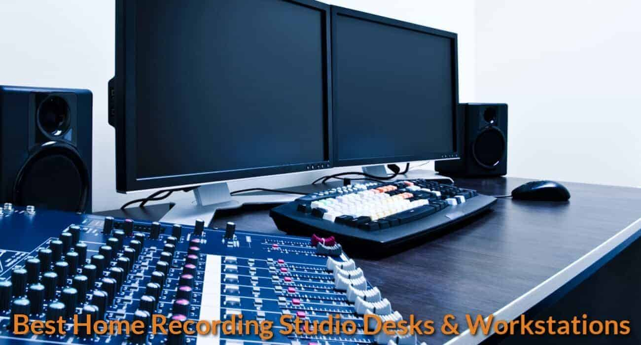 Desk with music studio equipment.