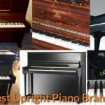Different brands and types of upright pianos.