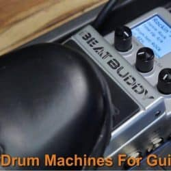 Drummer is stepping on the drum beat pedal.