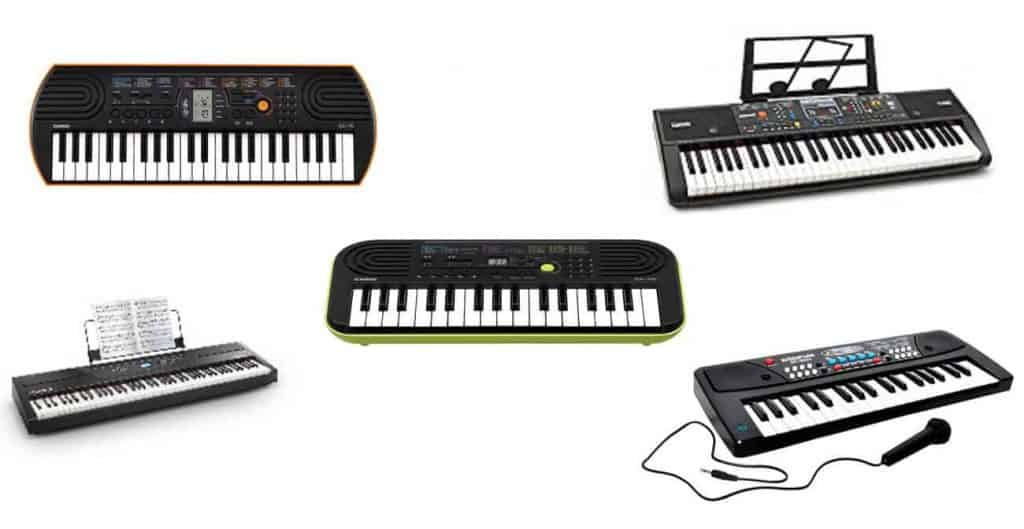 Different types and brands of affordable keyboard pianos.