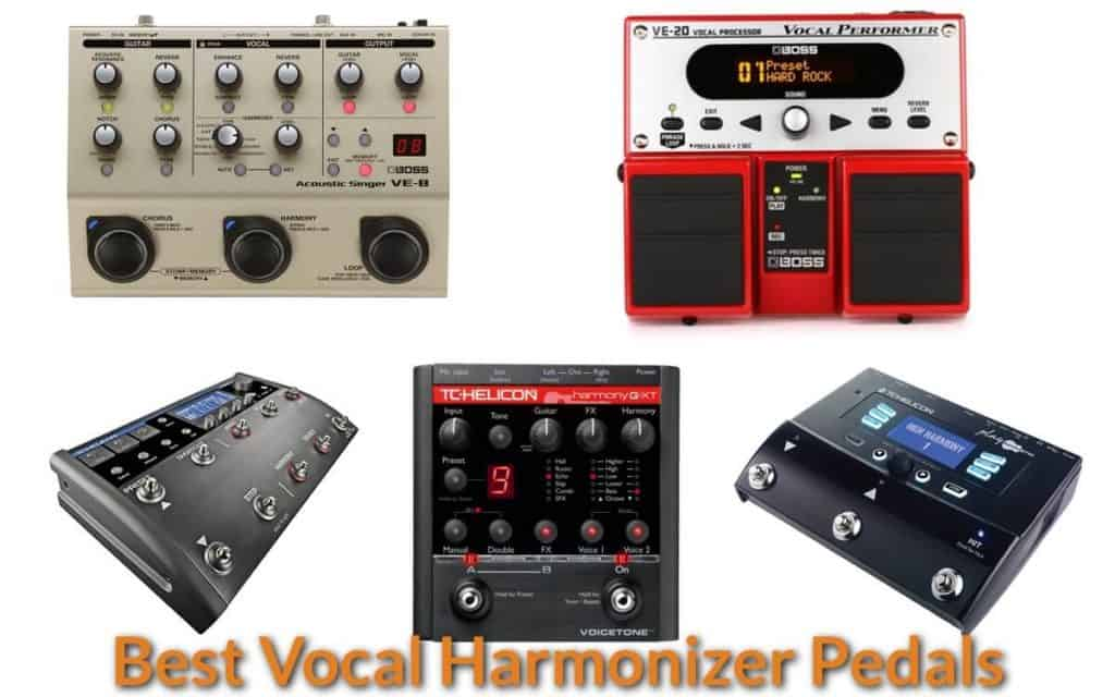 Different brands of vocal harmonizer pedals.