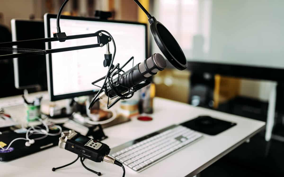 Recording studio desktop setup at home.