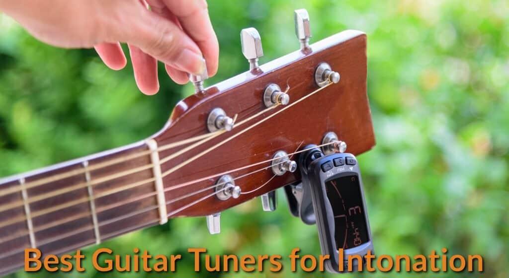 Tuning guitar manually.