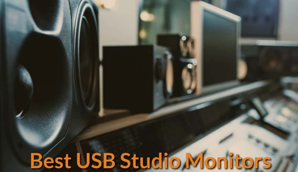 Display of usb compatible studio monitors.