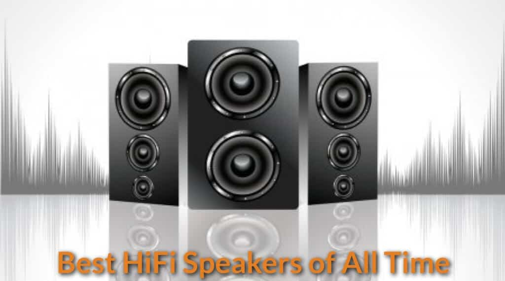 Hi-Fi speakers set display.