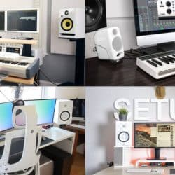 White ambient decoration ideas for home recording studio.