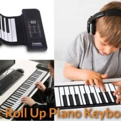 Kid and adult are playing the flexible roll-up piano keyboards.