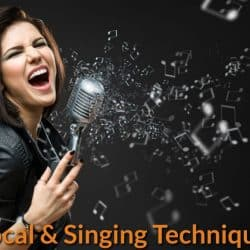 Vocalist using different types of singing techniques to project singing voice.