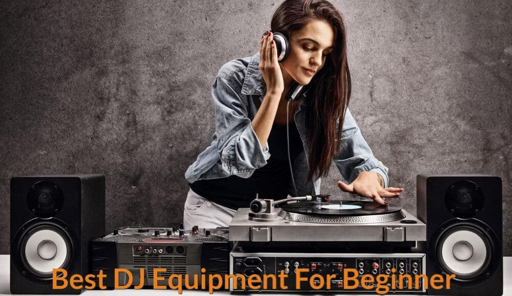 A female is learning how to DJing.