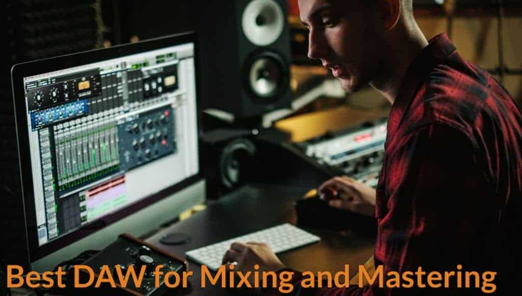 Music producer is using Daw to editing and mixing songs on computer.