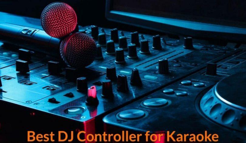 DJ put 2 microphones on the surface of the DJ Mixer Controller.