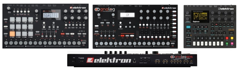 Different models of Elektron synths.