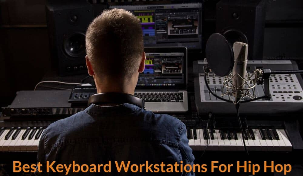 Music producer is making hip hop beats with keyboard workstation.