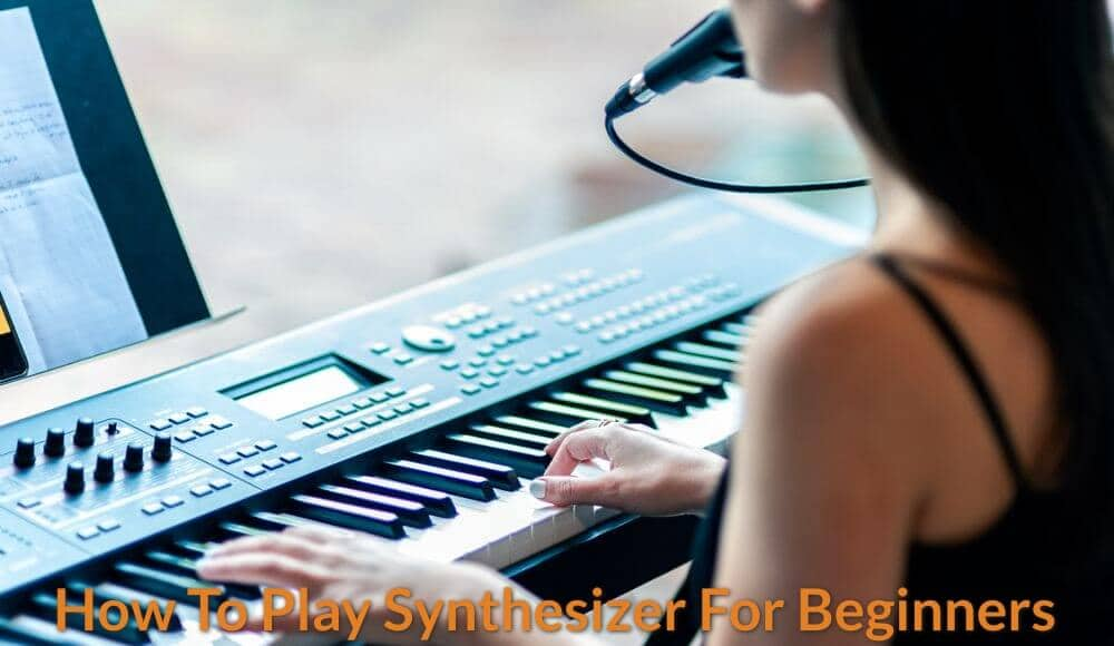 A beginner is learning how to play synthesizer keyboard.