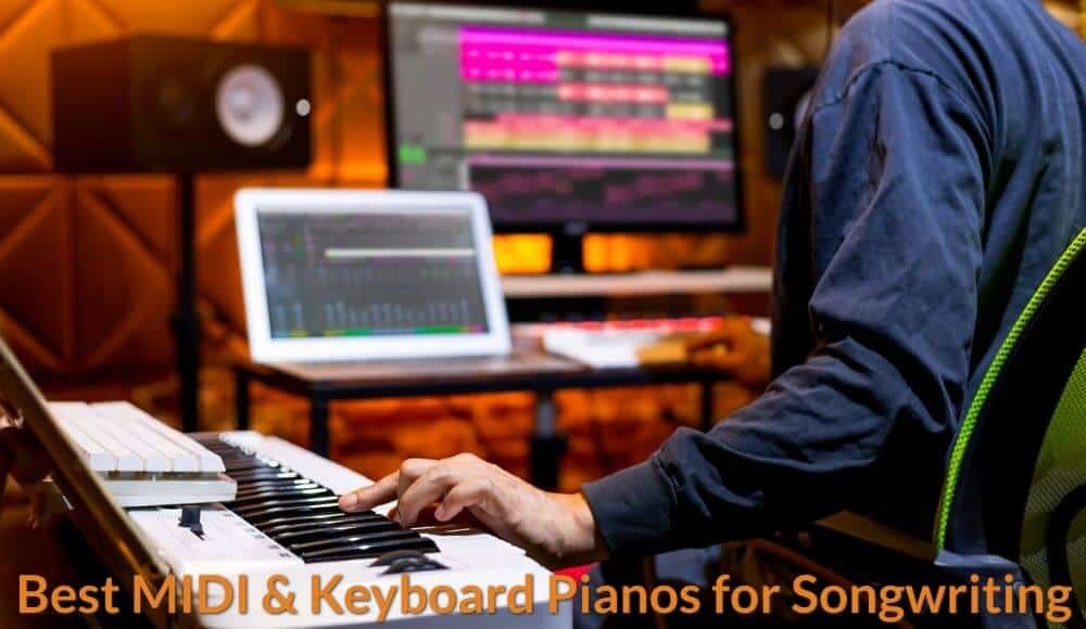 Songwriter writing and compose song with piano keyboard.